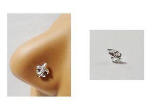 Silver Nose Stud Pin Ring L Shape Large Fleur de lis 20g 20 gauge