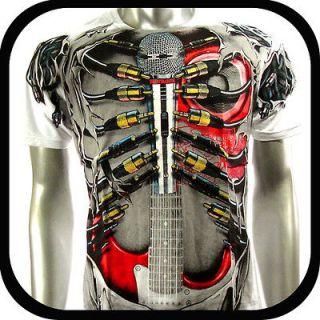 Artful Couture T Shirt Tattoo Guitar Rock AW42 Sz L XL XXL Graffiti