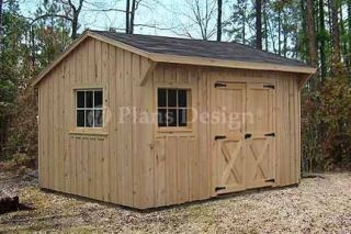 10 x 12 Utility Garden Saltbox Style Shed Plans 71012