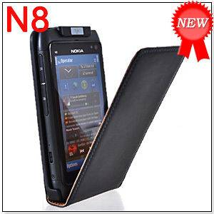 COW SKIN LEATHER FLIP POUCH CASE COVER + SCREEN PROTECTOR FOR NOKIA N8