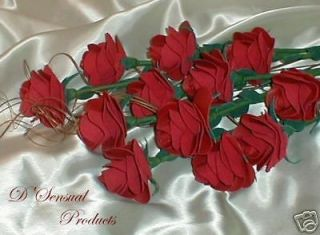12 RED LEATHER ROSES, ANNIVERSARY, GIFT, FLOWER, FLORAL, MOTHERS DAY
