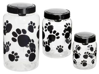 SNAPWARE Black PAW PRINT Dog/ PET TREAT Plastic CANISTER Set 17, 10 or