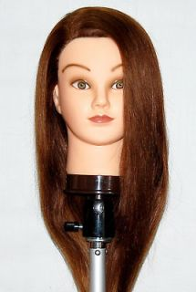 22 Cosmetology Mannequin Head HUMAN Hair ** with clamp holder **