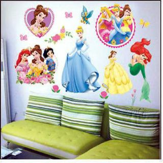 DISNEY PRINCESS Kids Nursery Removable Wall Sticker Set