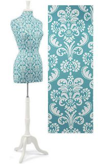 Beautiful Teal Damask Dress Form w White Wood Pedestal Stand n Neck
