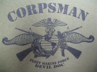 NAVY CORPSMAN FMF T SHIRT / FRONT PRINT ONLY ON LEFT BREAST/ DEVIL DOC