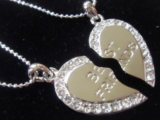 Necklaces Best Friend Heart Friendship Bff Crystal Clear