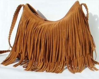 New Womens Faux Suede Fringe Tassel Shoulder Bag Handbag Hobo Satchel