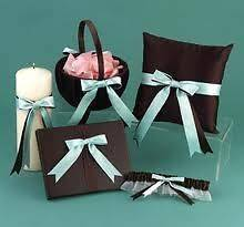 Duo Chocolate Brown & Aqua Satin Bow Wedding Candle Guest Book Garter
