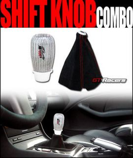 BLK SUEDE SHIFT BOOT+SILVER CARBON FIBER SHIFTER KNOB CHEVY FORD DODGE