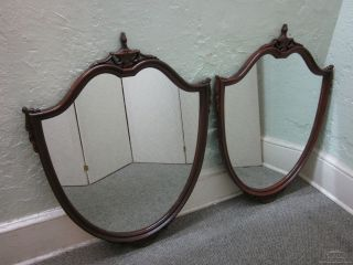 Vintage 1940s Mahogany Federal Pair Shield Mirrors