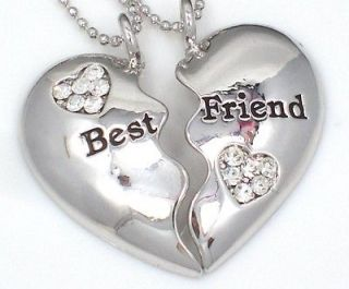 Friendship BEST FRIEND Heart Silvertone 2 Charms & 2 Necklaces BFF