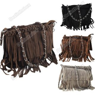 Newest Fashion Suede Fringe Tassel Shoulder Bag Womens Handbag
