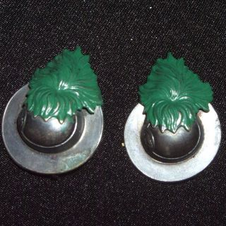 Two Antique MIlitary Pins, Hats with Green Leafs Unsure which country