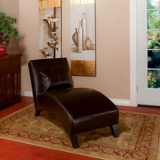 Curved Chaise Lounge Chair in Chocolate Brown Leather (comes with