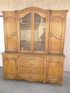 John Widdicomb carved country French break front china cabinet hutch