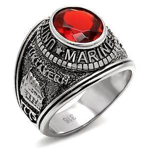 STAINLESS STEEL SIMULATED RUBY USMC MARINE CORPS SURPLUS RING SIZE 9