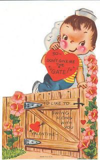 Valentine Card Boy Jumps Over Garden Gate Die Cut for Children Kids