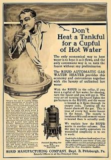 1911 Ad Ruud Automatic Gas Water Heater Dwelling Size   ORIGINAL