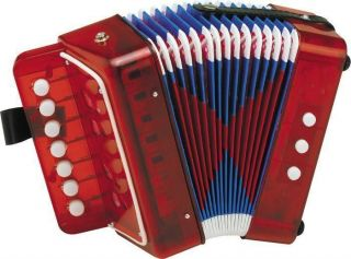RED Hohner Toy Accordion Accordian Ages 4+ Songs & Instructions