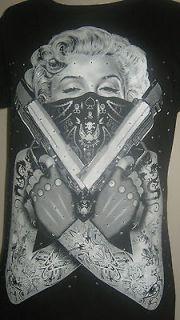 Marilyn Monroe rhinestone shirt tattoo guns top s xl 2xl free