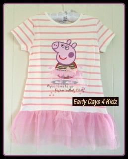 GIRLS PEPPA PIG NEXT PINK BALLET TUTU DRESS TOP SUITS 1,2,3,4,5,6