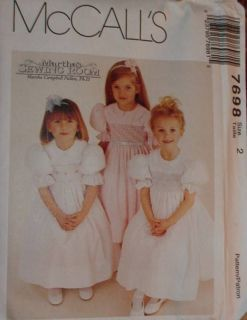 McCalls Pattern Girls Smocked Dress Martha Pullen 7698