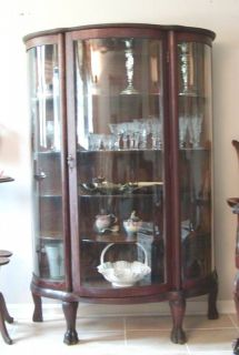oak 1880s  1890s Bow Front Oak China Cabinet Claw Feet Curved Glass