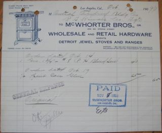 1909 Letterhead: Detroit Stove Works   Jewel Iron Stove