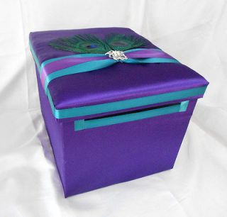 Peacock Feather Purple Turquoise Gift Card Money Box Ur Colors