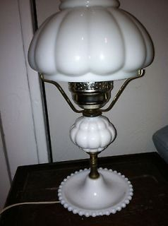 Vintage/ Antique Milk Glass Hurricane table Lamp with Shade