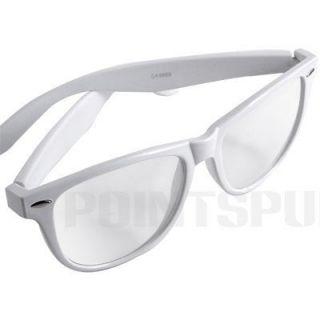 White Plastic Frame Lady Eyeglasses Glasses Clear Lens