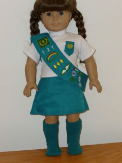 Junior Girl Scout Uniform Outfit 4 PC Set Fits 18 American Girl Doll