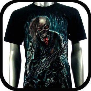 Shirt Biker Indie Tattoo RE99 Sz L Graffiti Skull Glow In The Dark