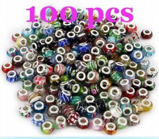 Lampwork silver plated Core Glass Beads fit European Charm Bracelet