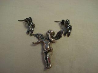 vintage sterling silver Angel Cherub brooch pin earrings pierced set
