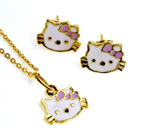 Gold 18k GF Lavender Purple Hello Kitty Enamel Earrings Charm & Chain