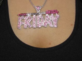 Minaj Iced Out Pink Friday Hip Hop Crystal Barbie Silver Necklace