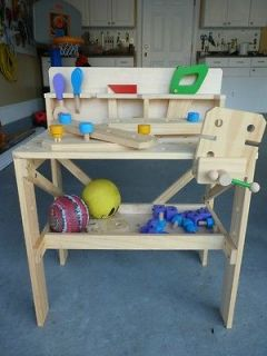 Solid Wood Toddler workbench with Tools