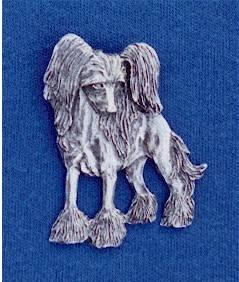 Chinese Crested Hairless pewter pin #22G Dog Jewelry