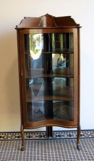 Antique oak corner china cabinet rare reverse serpentine glass door