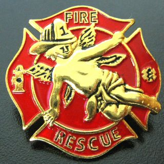 Art By W. R. Gunz Gunzelman Red Fire Rescue Firefighter Angel Pin