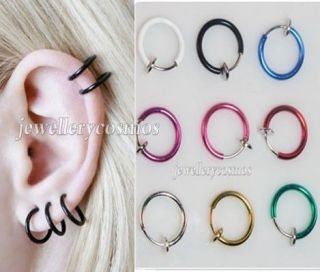 fake hoop nose lip ear rings gold silver Punk Goth piercings new