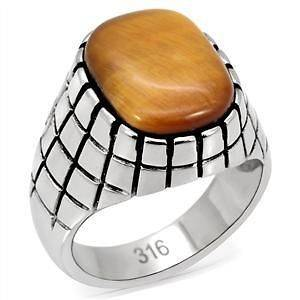 R939 9 GENUINE 12 CARAT TIGERS EYE RING IN 316 STAINLESS STEEL SETTING