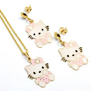 Gold 18k GF Pink Enamel Dangle Earrings Hello Kitty Girl Pendant Charm