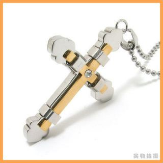 Gold Cross Tie Stainless Steel Mens Pendant Necklace
