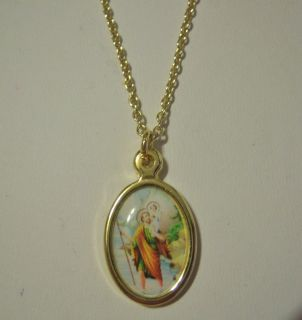 St. Christopher Beautiful Colors Gold Plated Necklace