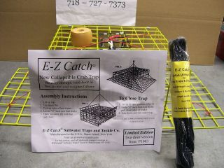 Catch *Patent Folding Crab Pot Trap w/ Rope & Buoy *Limited Yellow
