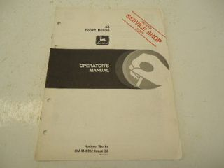 John Deere 43 front blade operators manual OM M48952 Issue E8 18 pages