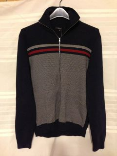 Gucci Navy Blue Cotton Maglia Cotton Zip Cardigan 100% Authentic NWT M